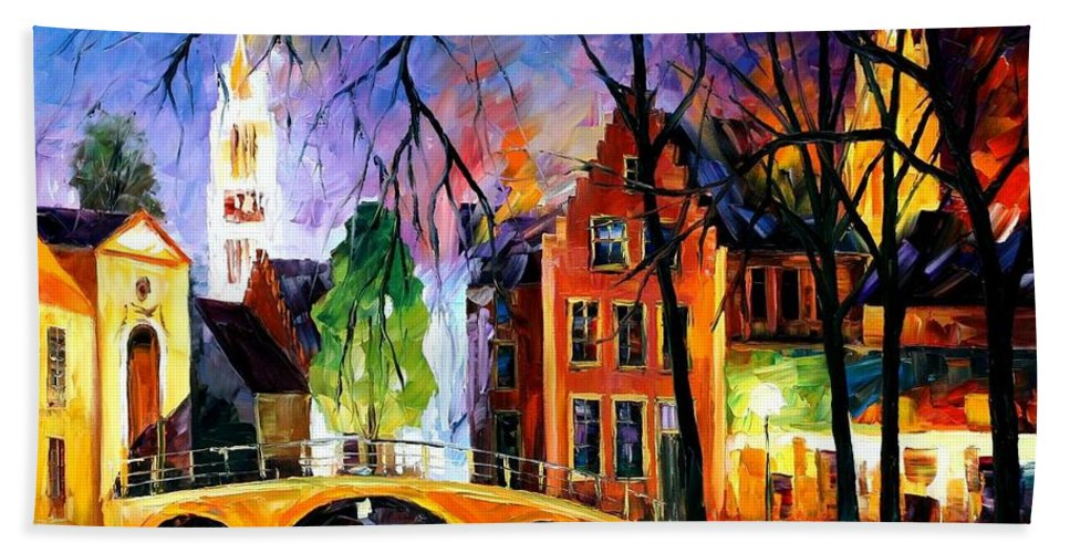 Afremov Hand Towel featuring the painting Bruges Belgium by Leonid Afremov
