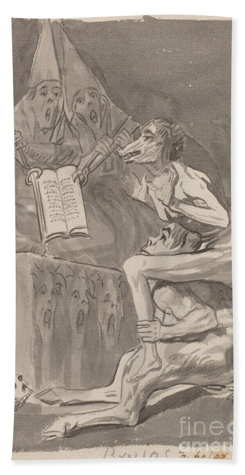Hand Towel featuring the drawing Brujas ? Volar (witches Preparing To Fly) [verso] by Francisco De Goya