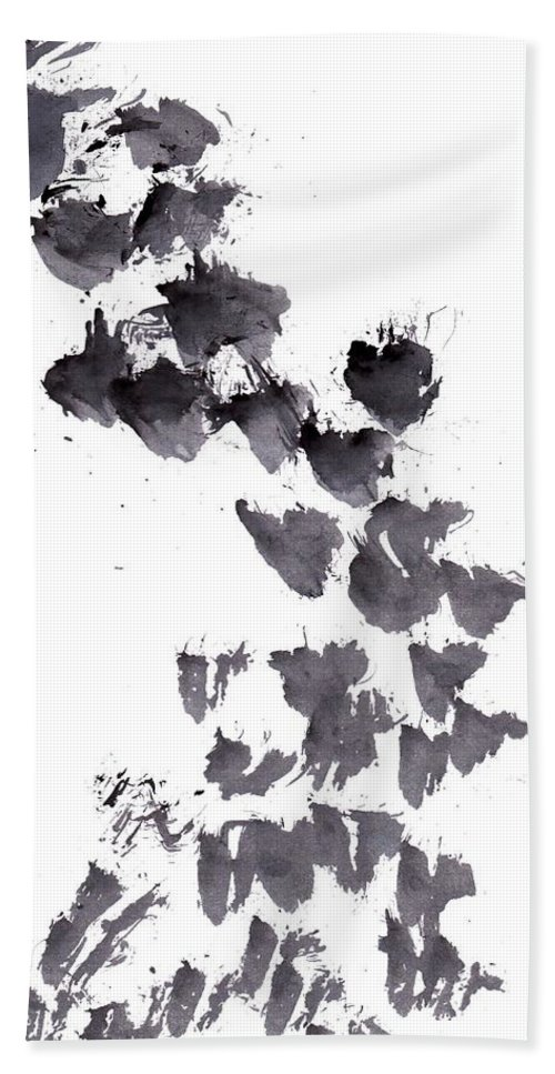 Black And White Bath Towel featuring the painting Brush by Sweeping Girl