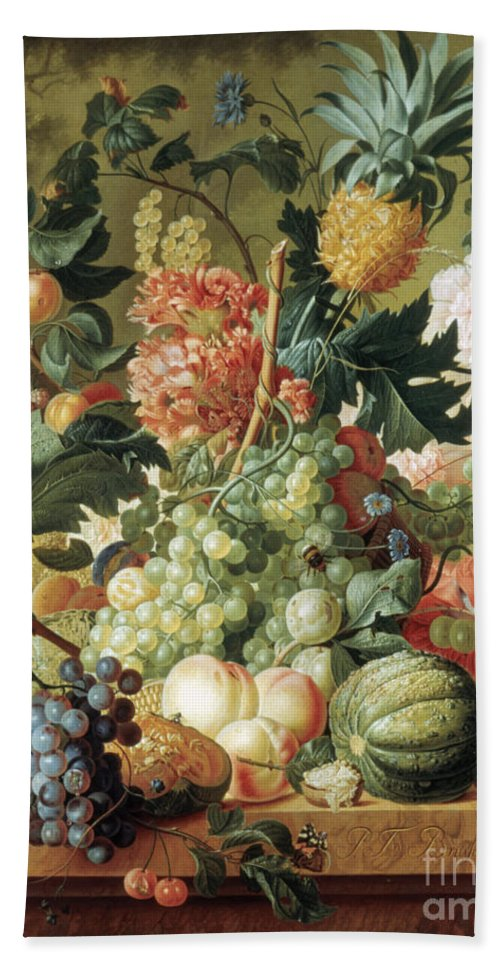 Bouquet Bath Sheet featuring the painting Brussel Fruits 1789 by Granger