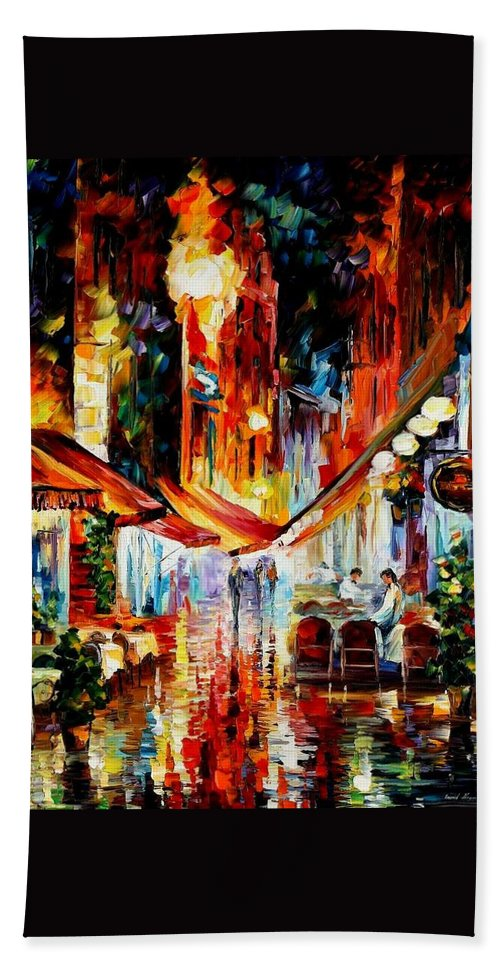 Afremov Bath Sheet featuring the painting Brussels - Before The Night Starts by Leonid Afremov