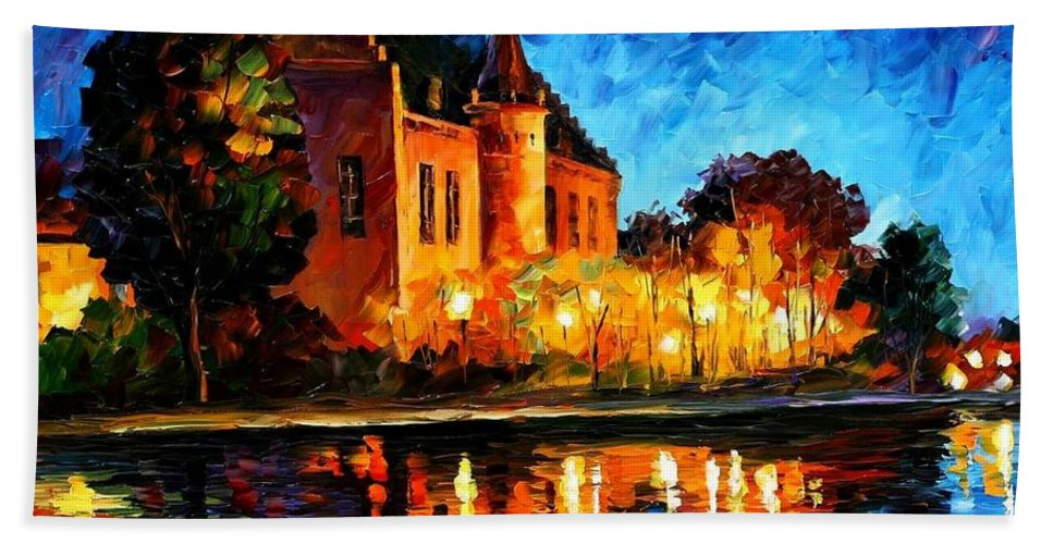 Afremov Bath Sheet featuring the painting Brussels - Castle Saventem by Leonid Afremov
