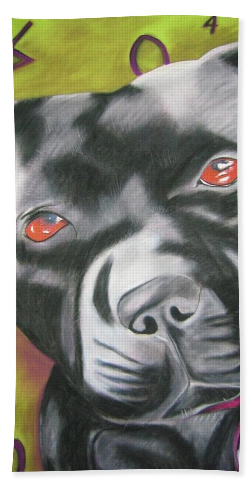 Portrait Of A Dog Hand Towel featuring the painting Brynn by Michelle Hayden-Marsan
