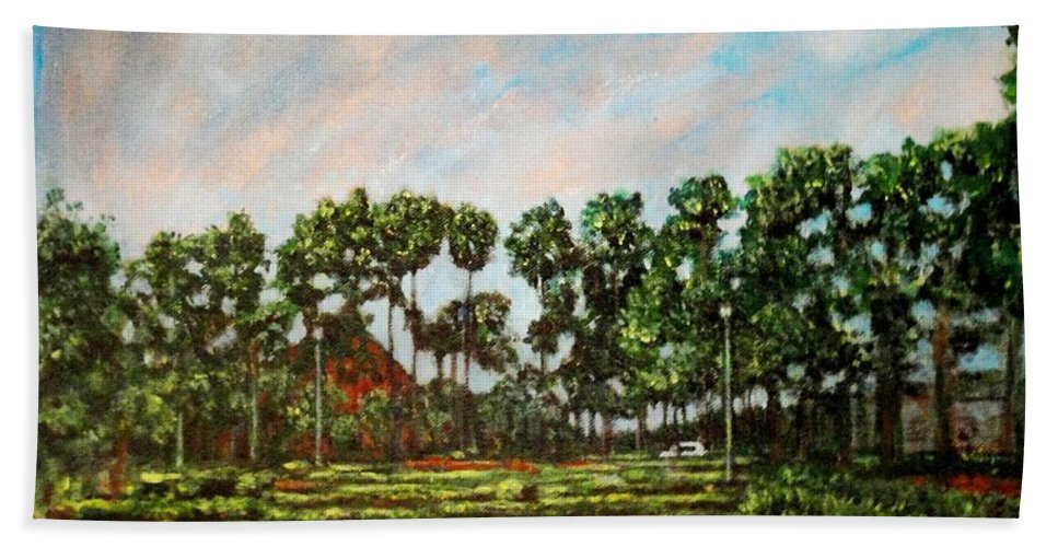 Landscape Hand Towel featuring the painting Btm Park by Usha Shantharam
