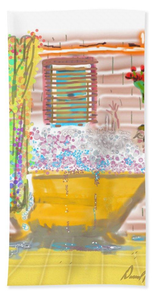 Woman Bubble Bath Flowers Yellow Antique Tub Bath Sheet featuring the digital art Bubble Bath by David R Keith