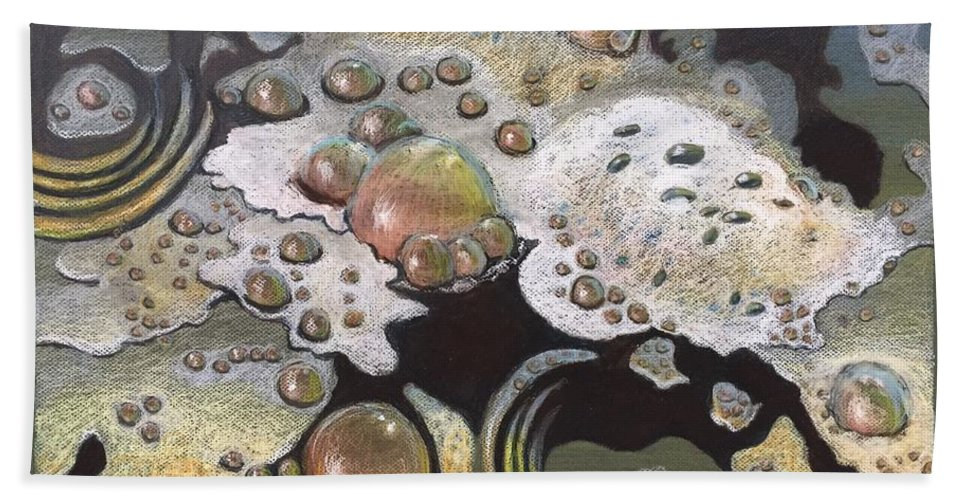 Sandra Hansen Bath Sheet featuring the drawing Bubble, Bubble, Toil and Trouble 2 by Art Nomad Sandra Hansen