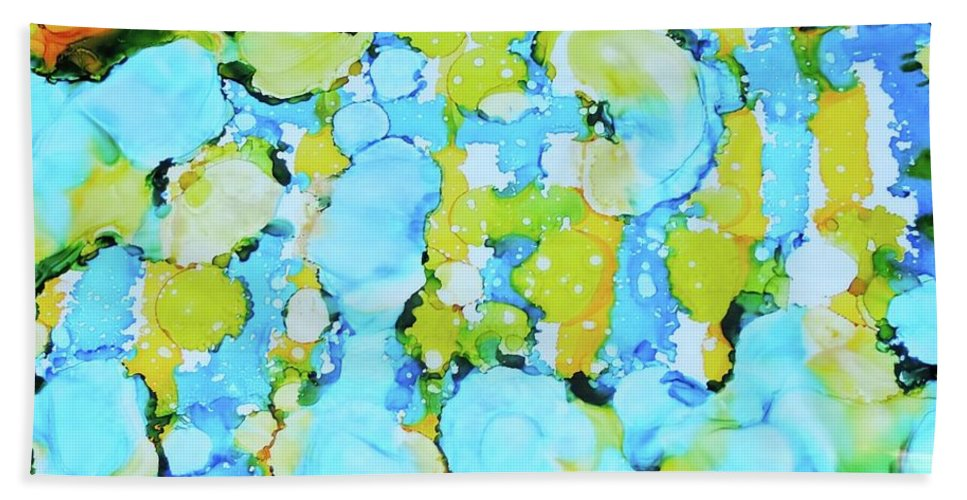 Abstract Hand Towel featuring the painting Bubble Collection by Sean Brushingham