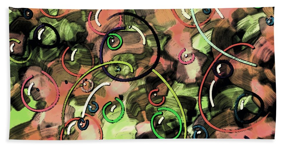 Abstract Bath Sheet featuring the digital art Bubbles by Rachel Christine Nowicki