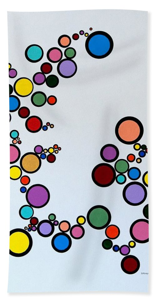 Abstract Hand Towel featuring the painting Bubbles2 by Thomas Gronowski