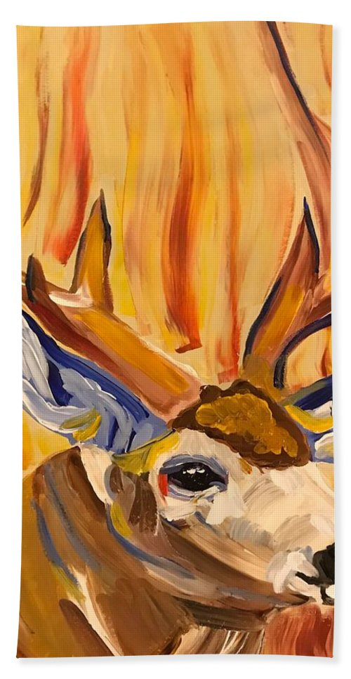 Buck Bath Sheet featuring the painting Buck In Fiery Sunset by Kathi Schwan