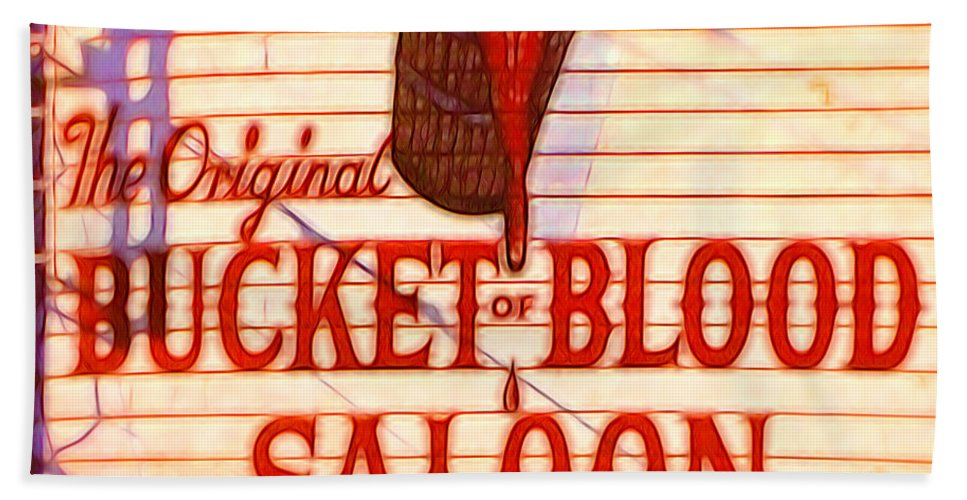 Hand Towel featuring the digital art Bucket Of Blood Saloon by Cathy Anderson