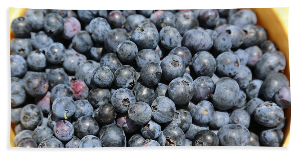 Blueberry Hand Towel featuring the photograph Bucket Of Blueberries by Carol Groenen