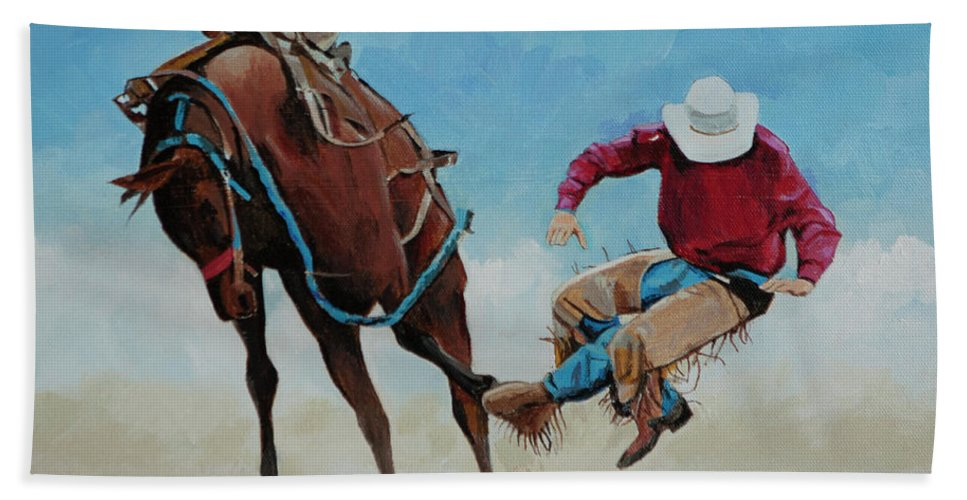 Bucking Bronco Bath Sheet featuring the painting Bucking Bronco by Bill Dunkley
