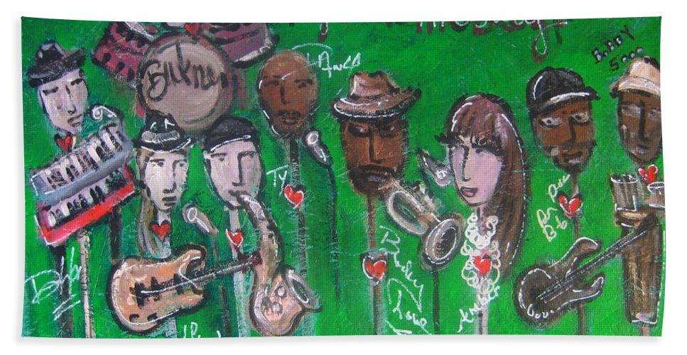 Buckner Funken Jazz Bath Sheet featuring the painting Buckner Funken Jazz by Laurie Maves ART