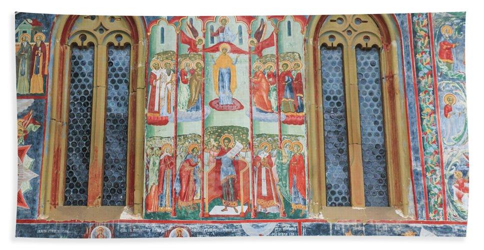 Bucovina Hand Towel featuring the photograph Bucovina Monastery Fresco by Emily M Wilson