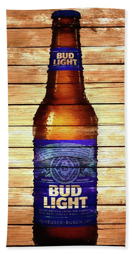 Bud Light Bottle Rustic Bath Towel Featuring The Mixed Media Bud Light  Bottle Rustic By Dan