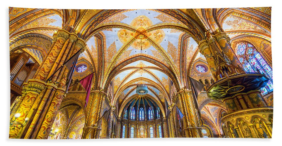 Budapest Bath Sheet featuring the photograph Budapest - Mathias Cathedral by Luciano Mortula