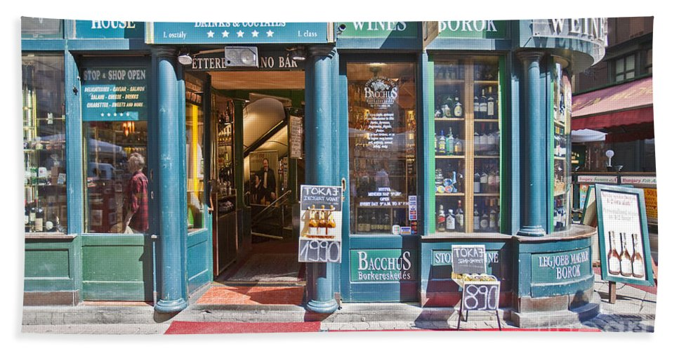 Budapest Bath Sheet featuring the photograph Budapest Storefront by Madeline Ellis