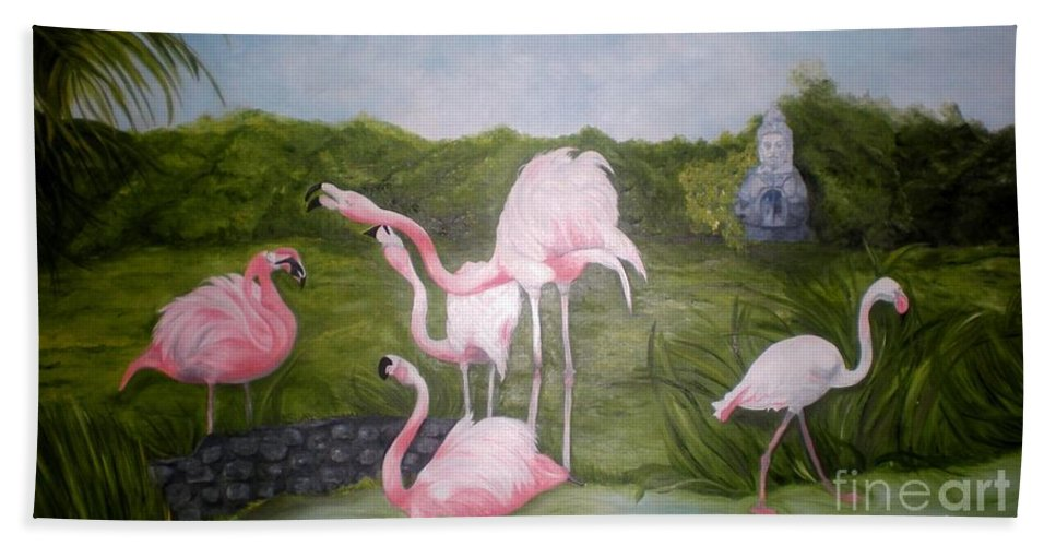 Flamingos Hand Towel featuring the painting Buddah And The Flamingos by Graciela Castro