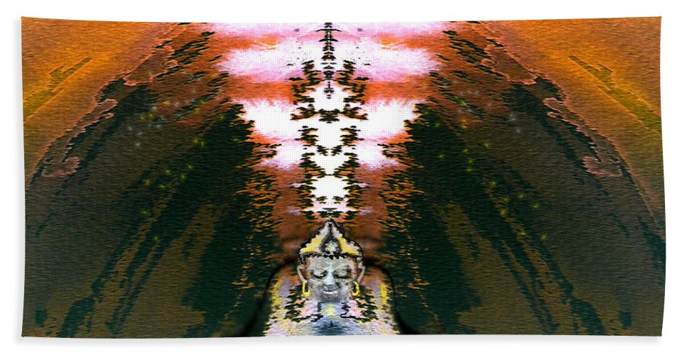 Fantasy Bath Sheet featuring the painting Buddahs Dream by Miki De Goodaboom