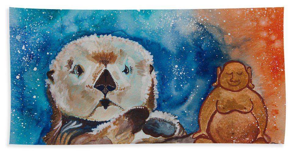 Illsa Millermoon Bath Sheet featuring the painting Buddha And The Divine Otter No. 1374 by Ilisa Millermoon