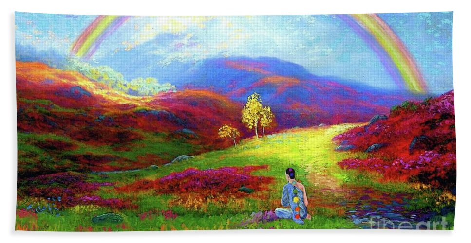 Meditation Bath Towel featuring the painting Buddha Chakra Rainbow Meditation by Jane Small
