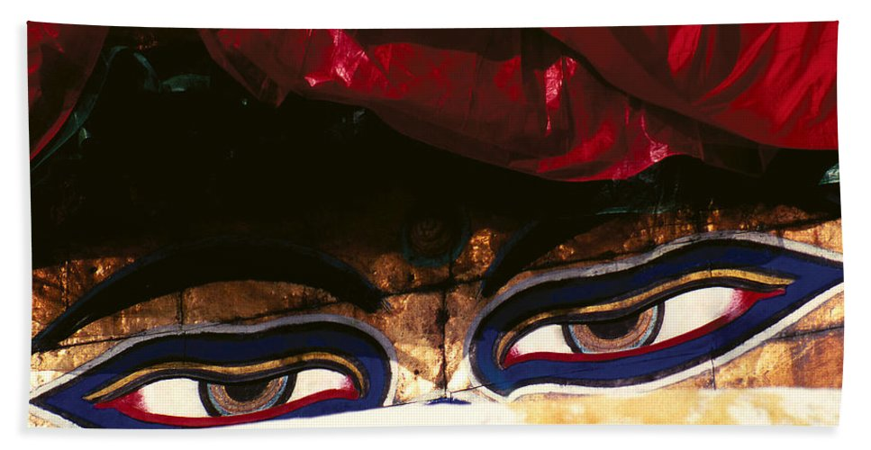 Eyes Bath Sheet featuring the photograph Buddha Eyes by Patrick Klauss