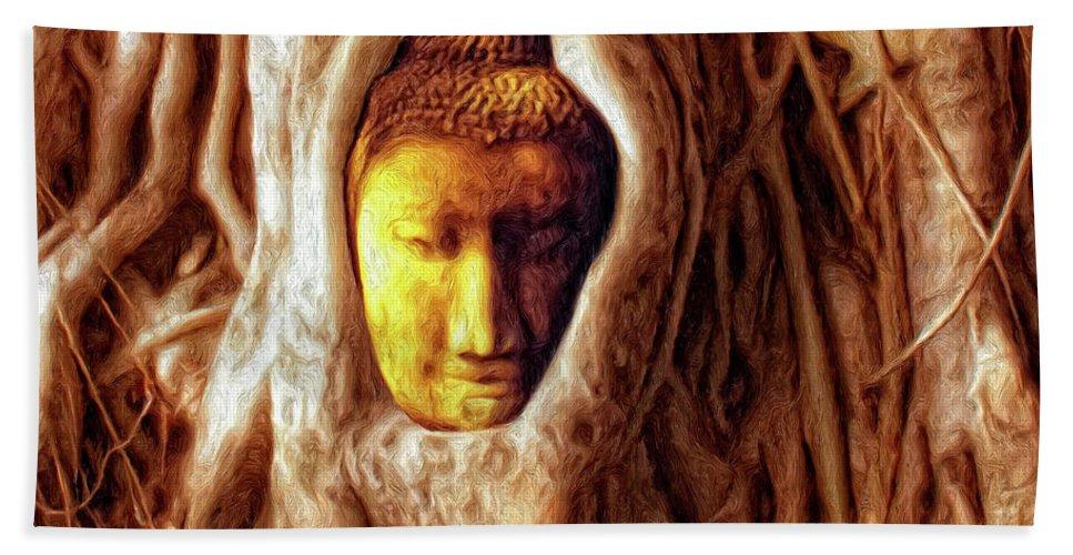 Buddha Of The Banyan Tree Hand Towel featuring the painting Buddha Of The Banyan Tree by Dominic Piperata