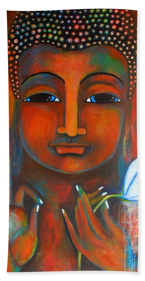 Buddha Bath Towel featuring the painting Buddha With A White Lotus In Earthy Tones by Prerna Poojara