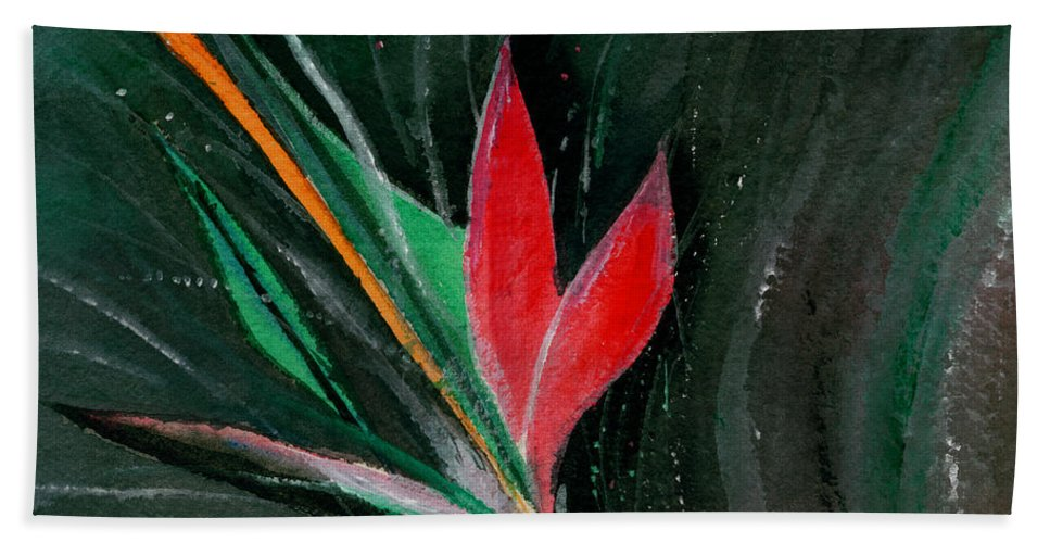 Flower Hand Towel featuring the painting Budding by Anil Nene