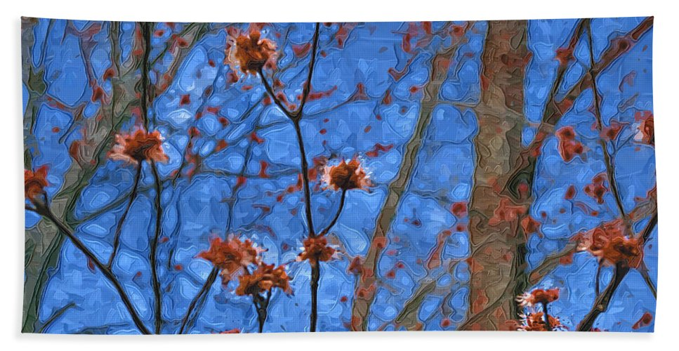 Blue Hand Towel featuring the photograph Budding Maples by Tom Reynen