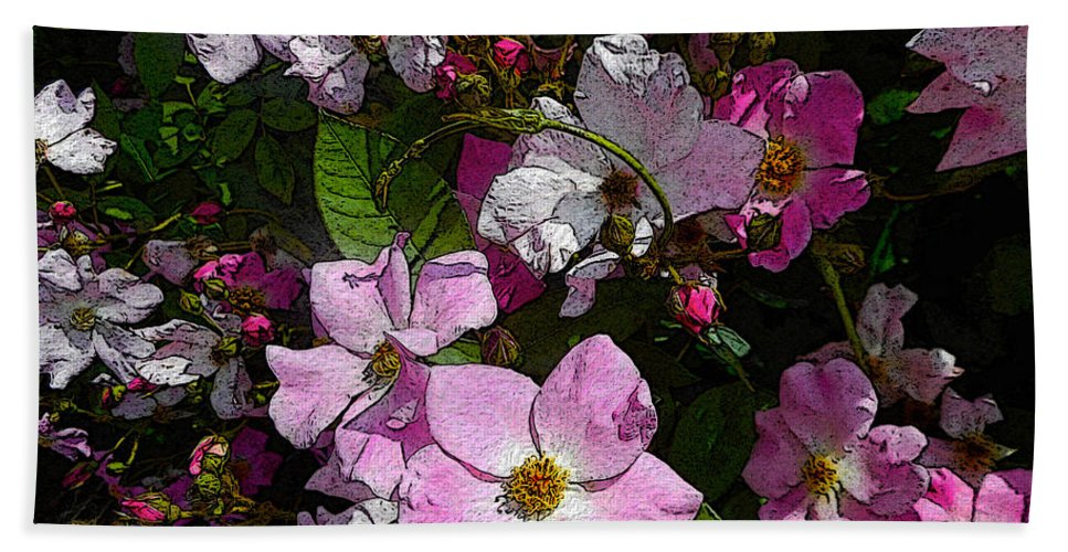 Roses Bath Sheet featuring the painting Buds And Petals- Pink Roses- Rose Bush- Floral Art by Kathy Symonds