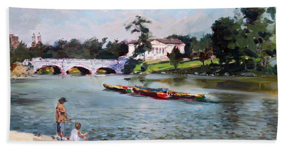 Landscape Hand Towel featuring the painting Buffalo Fishing Day by Ylli Haruni