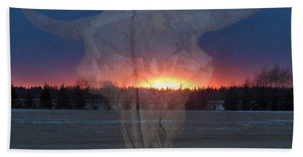 Buffalo Teepee Ghosts Skull Sunset Trees Saskatchewan Hand Towel featuring the digital art Buffalo Ghosts by Andrea Lawrence