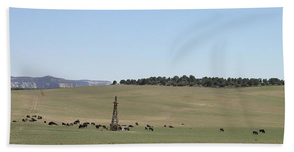 Utah Hand Towel featuring the photograph Buffalo Herd by Rich Bodane