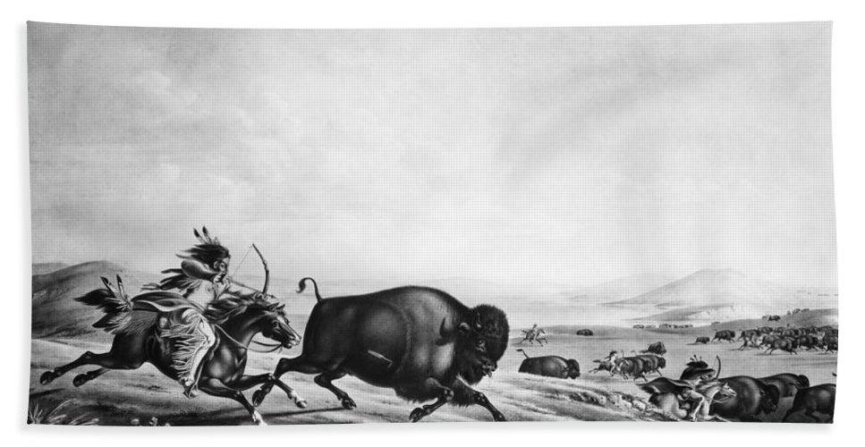 1830 Bath Sheet featuring the photograph Buffalo Hunt, C1830 by Granger