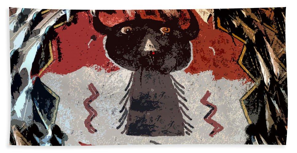 Buffalo Hand Towel featuring the painting Buffalo Man by David Lee Thompson