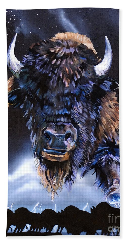 Buffalo Bath Towel featuring the painting Buffalo Medicine by J W Baker