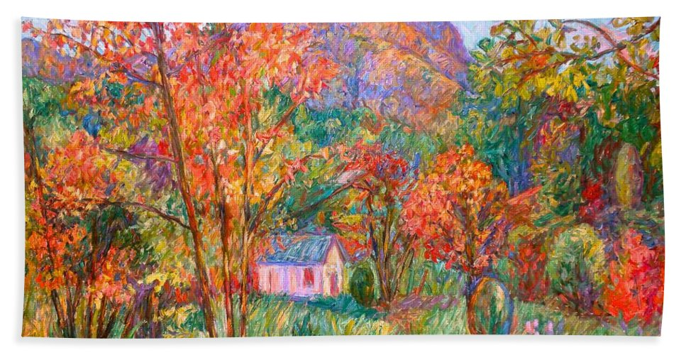 Landscape Bath Towel featuring the painting Buffalo Mountain In Fall by Kendall Kessler