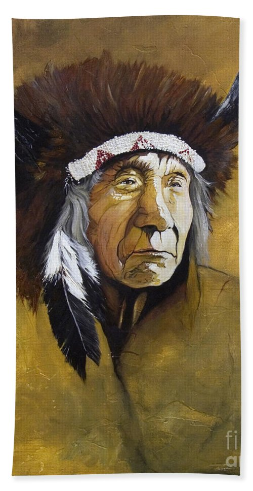 Shaman Hand Towel featuring the painting Buffalo Shaman by J W Baker