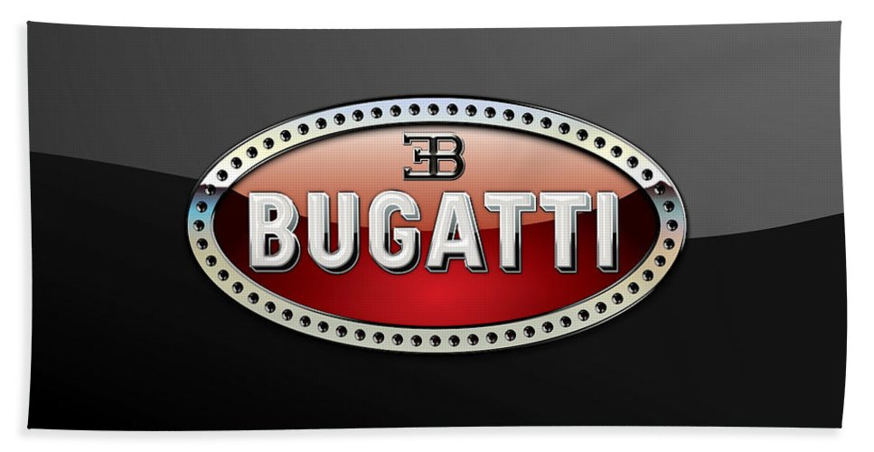 �wheels Of Fortune� Collection By Serge Averbukh Bath Towel featuring the photograph Bugatti - 3 D Badge On Black by Serge Averbukh
