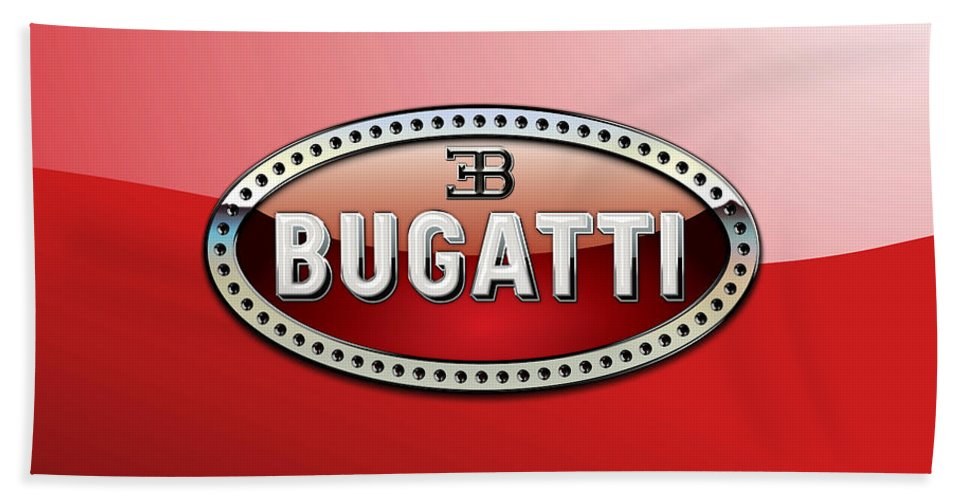 �wheels Of Fortune� Collection By Serge Averbukh Bath Towel featuring the photograph Bugatti - 3 D Badge on Red by Serge Averbukh