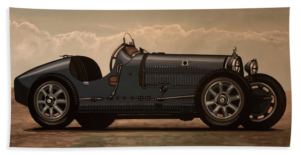 Bugatti Type 35 Bath Towel featuring the mixed media Bugatti Type 35 1924 Mixed Media by Paul Meijering