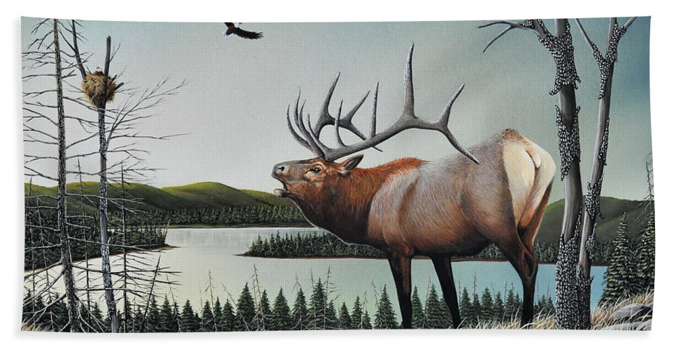 Don Engler Bath Towel featuring the painting Bugling Elk by Don Engler