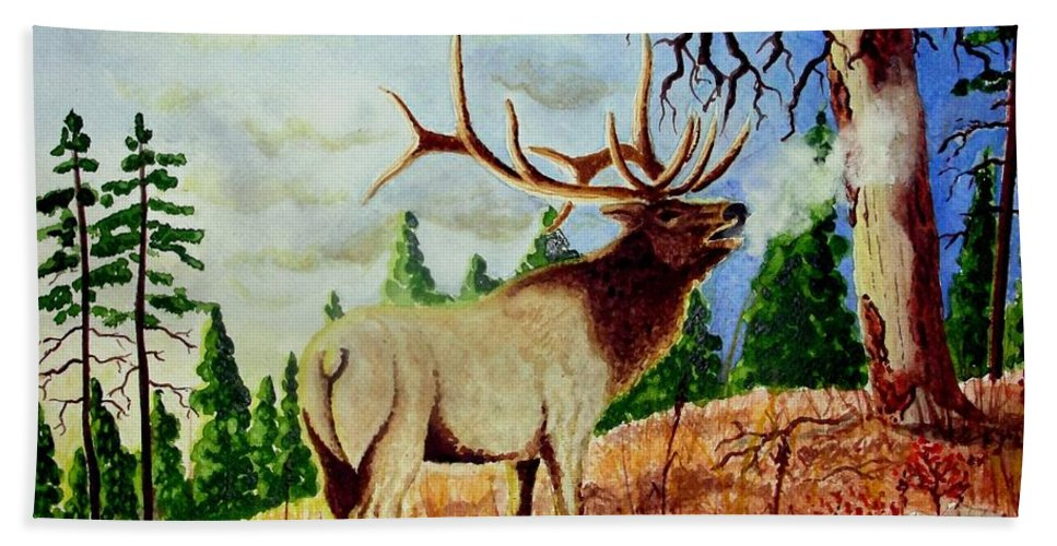 Antlers Bath Sheet featuring the painting Bugling Elk by Jimmy Smith