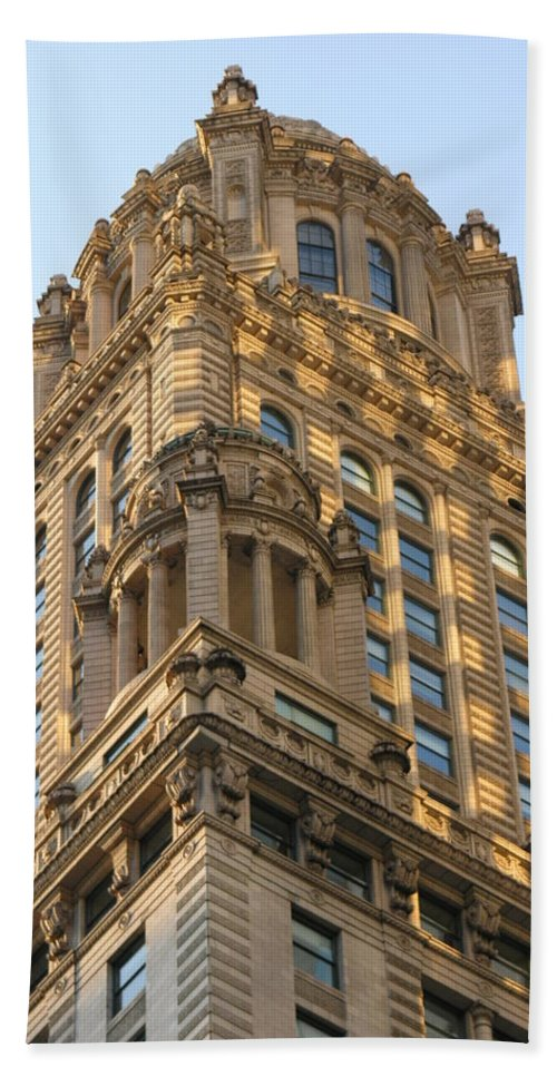 Building Bath Towel featuring the photograph Building Chicago by Diane Greco-Lesser
