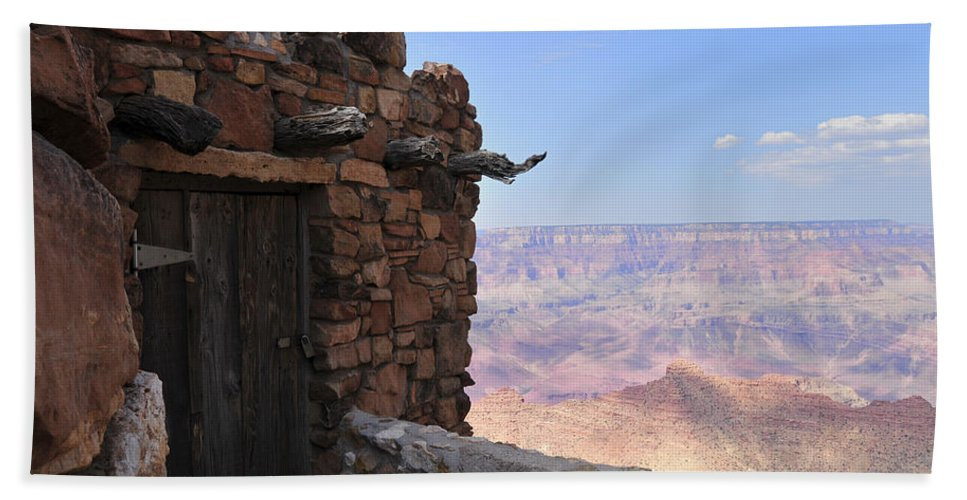 Grand Canyon Hand Towel featuring the photograph Building On The Grand Canyon Ridge by David Arment