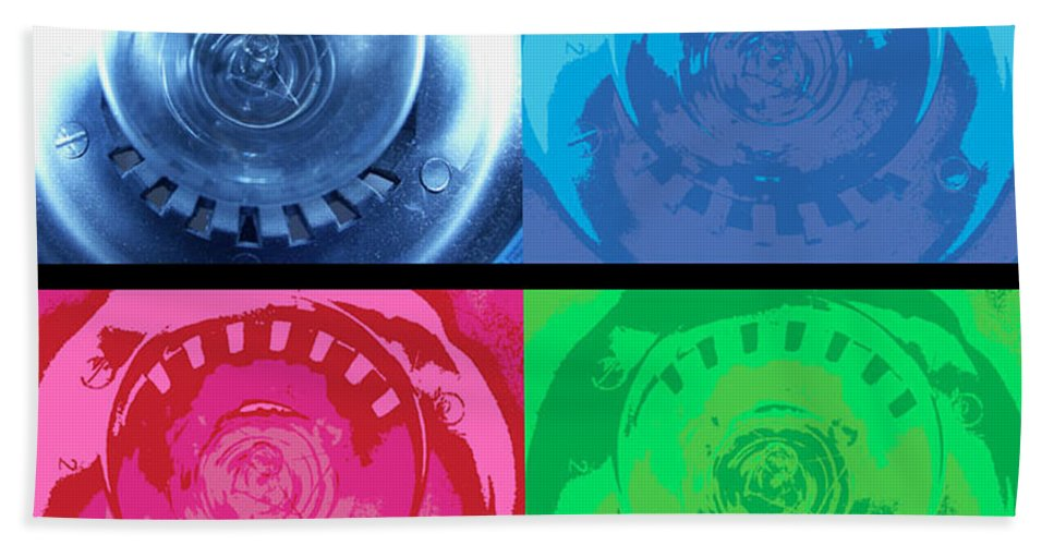 Abstract Hand Towel featuring the photograph Bulbs In The Style Of Warhol by Scott Wyatt