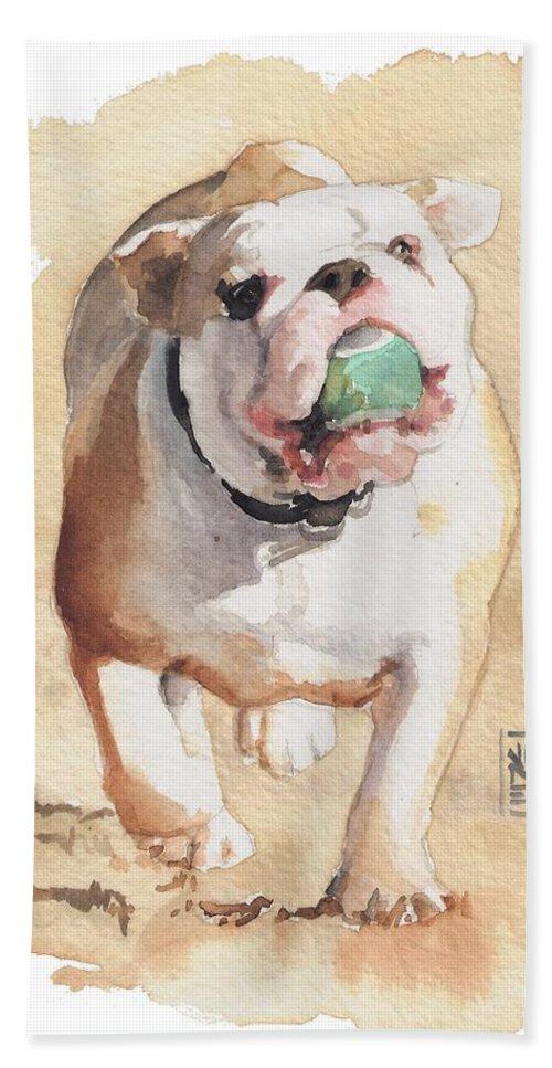 Bulldog Bath Sheet featuring the painting Bull And Ball by Debra Jones