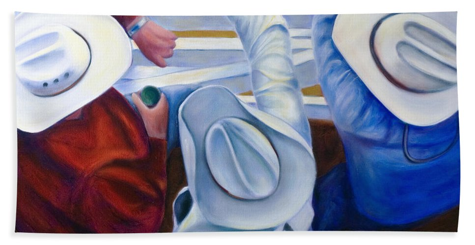Western Bath Towel featuring the painting Bull Chute by Shannon Grissom